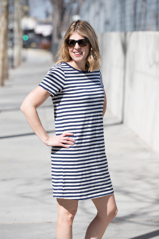 a317fb78c237 Striped T Shirt Dress · Abby Savvy